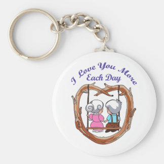 LOVE YOU MORE EACH DAY BASIC ROUND BUTTON KEYCHAIN