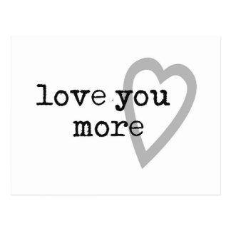 love you more modern black white gray heart postcard