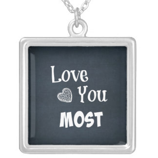 Love You Most Square Pendant Necklace