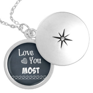 Love You Most Round Locket Necklace
