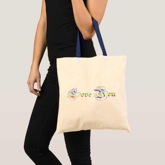 Love You. Multicolor  gradient text. Tote Bag