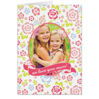 Love you Mum Floral Personalised Custom Photo Greeting Card