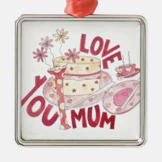 Love You Mum Silver-Colored Square Decoration