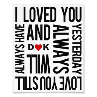 Love You Personalized Art Print Photo Art