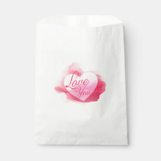 Love You Pink Red Watercolor Heart Bag - Wedding Favour Bags