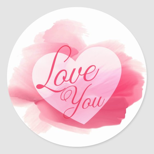 Love You Pink & Red Watercolor Heart Round
