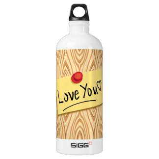 LOVE YOU POST-it Message, Love sticker on Wood SIGG Traveller 1.0L Water Bottle