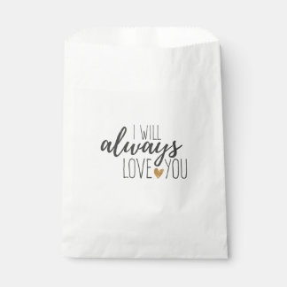Love You Quote Black White Wedding  Bridal Shower Favour Bags