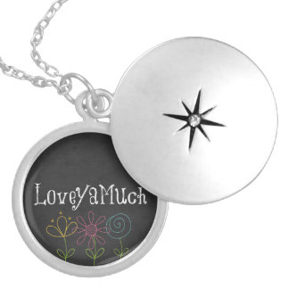 Love You Quote Round Locket Necklace