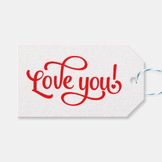 Love You Red And White Wedding Calligraphy Gift Tags