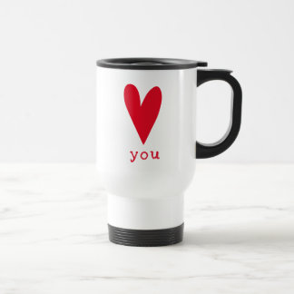Love You | Red Heart Valentine's Day Travel Mug