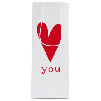 Love You   Red Heart Valentine's Day Wine Gift Bag