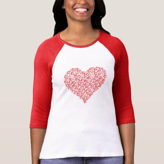 Love You Red Raglan T-Shirt Valentine Day