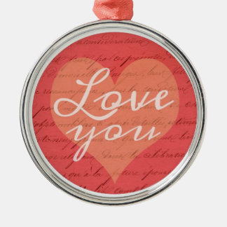 Love You Romantic Vintage French Heart Christmas Ornament