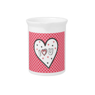Love You So Much Romance Pink Heart Cute Sweet Drink Pitchers