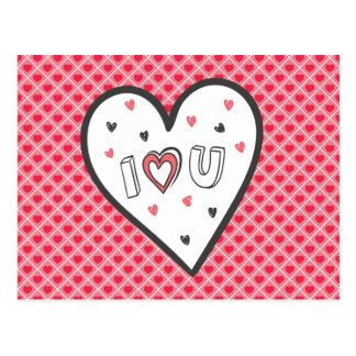Love You So Much Romance Pink Heart Cute Sweet Postcard