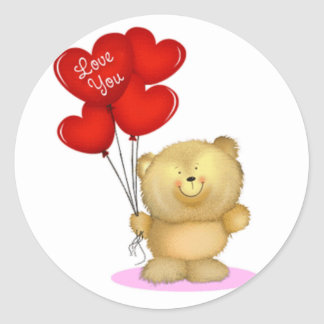 Love You Teddy Bear holding heart ballons Classic Round Sticker