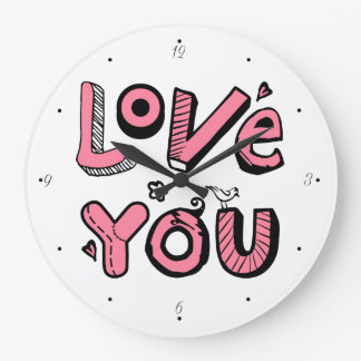 Love You Text Design Clock