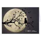 Love you to moon and back silhouette cat card