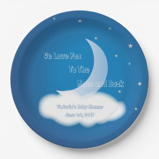 Love You to the Moon and Back - Blue BOY/GIRL 9 Inch Paper Plate