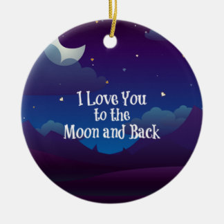Love You to the Moon and Back, Blue Indigo Christmas Ornament