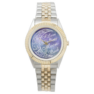 Love You To The Moon and Back Fancy Starry Night Wristwatches