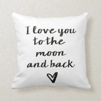 Love you to the moon and back heart cushions