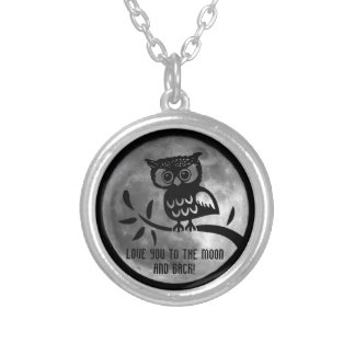 Love you to the Moon and back, Owl necklace Round Pendant Necklace