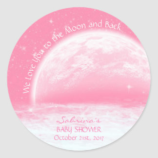 Love You To The Moon & Back Pink Girl Baby Shower Classic Round Sticker