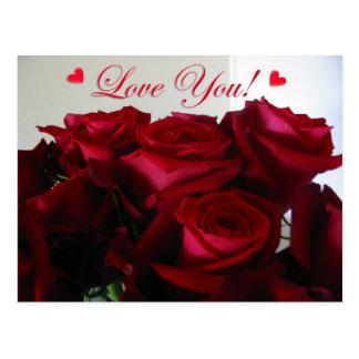Love You w/ hearts - postcard