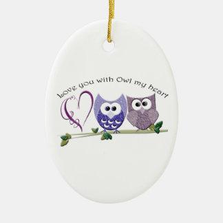 Love you with Owl my heart, cute Owls art Christmas Ornament