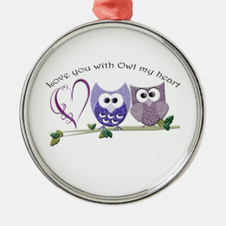 Love you with Owl my heart, cute Owls art gifts Christmas Ornament