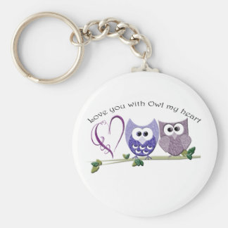 Love You with Owl my Heart, cute Owls art gifts Keychains
