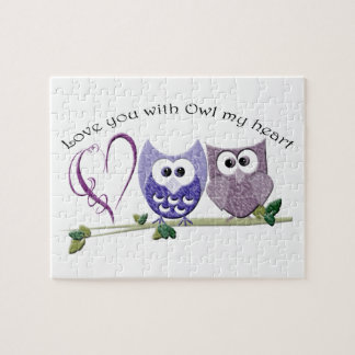 Love you with Owl my heart, cute Owls art Jigsaw Puzzle