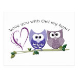Love you with Owl my heart, cute Owls art Postcard