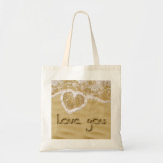 """Love you"" written in sand - Budget Tote Budget Tote Bag"