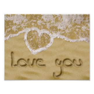 """Love you"" written in sand - Poster"