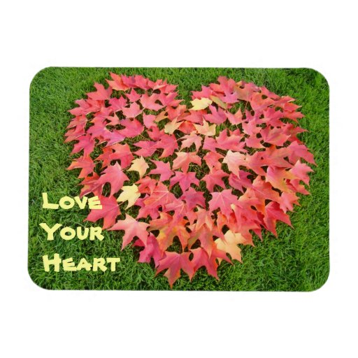 Love Your Heart magnets Hearts Autumn Leaves