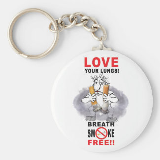 Love Your Lungs - Stop Smoking Basic Round Button Key Ring