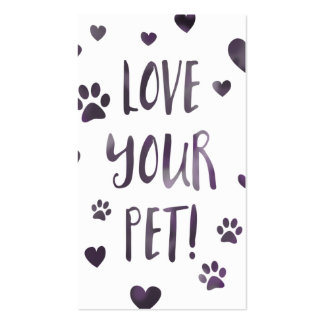 love your pet stamp card bokeh pack of standard business cards