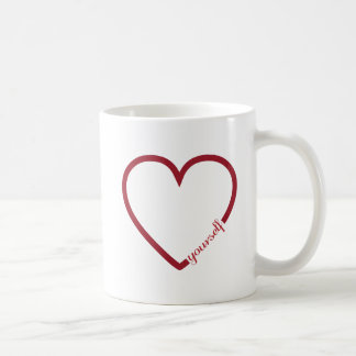 Love yourself heart minimalistic design coffee mug