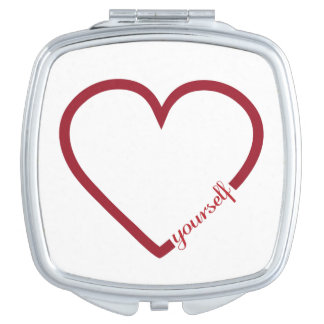 Love yourself heart minimalistic design makeup mirrors