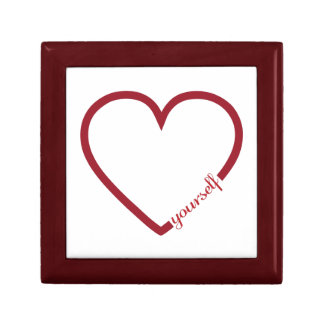Love yourself heart minimalistic design small square gift box