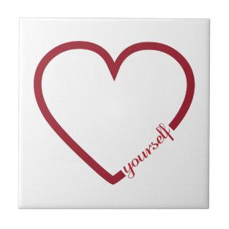 Love yourself heart minimalistic design small square tile