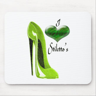 Love Zesty Lime Green Stiletto Shoe and Heart Mouse Mat