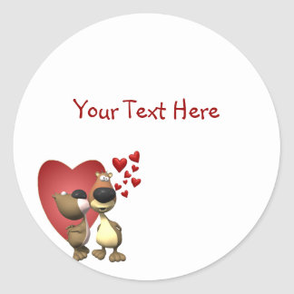 Loveable Bear Caricatures Sticker
