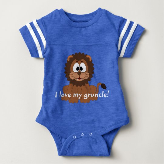 "Loveable lion with ""I love my gruncle!"" Baby"