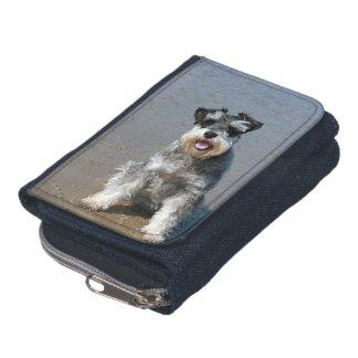 Loveable Mini Schnauzer On Beach Wallet