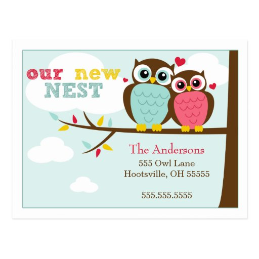 Loveable Owls Moving Announcements Postcards