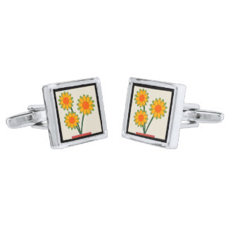 Loveable Sunflowers Silver Finish Cuff Links